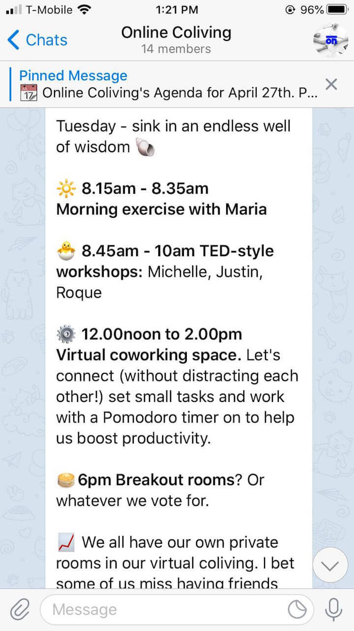 Telegram group chat virtual coworking screenshot