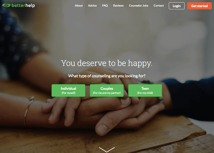 Talkspace vs Betterhelp: online therapy homepage screenshot