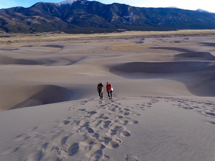 People from a distance in Great Sand Dunes National Park, Colorado