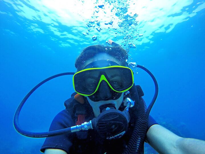 Choosing travel insurance: Scuba diving selfie
