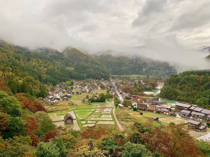Viewpoint over Shirakawago in Japan